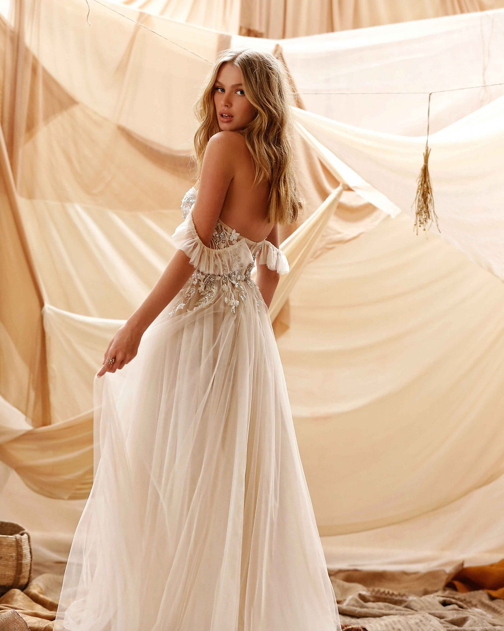 A Berta 2021 off the shoulder, bohemian or gypsy style wedding dress