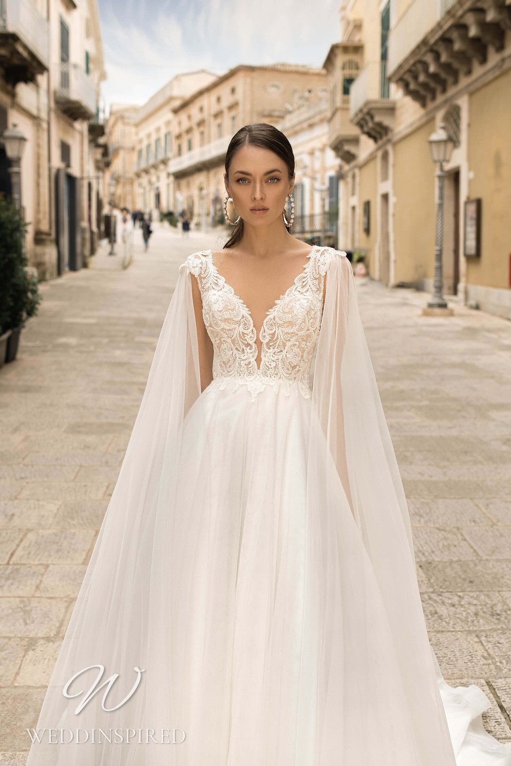 A Lussano 2021 boho lace and tulle A-line wedding dress