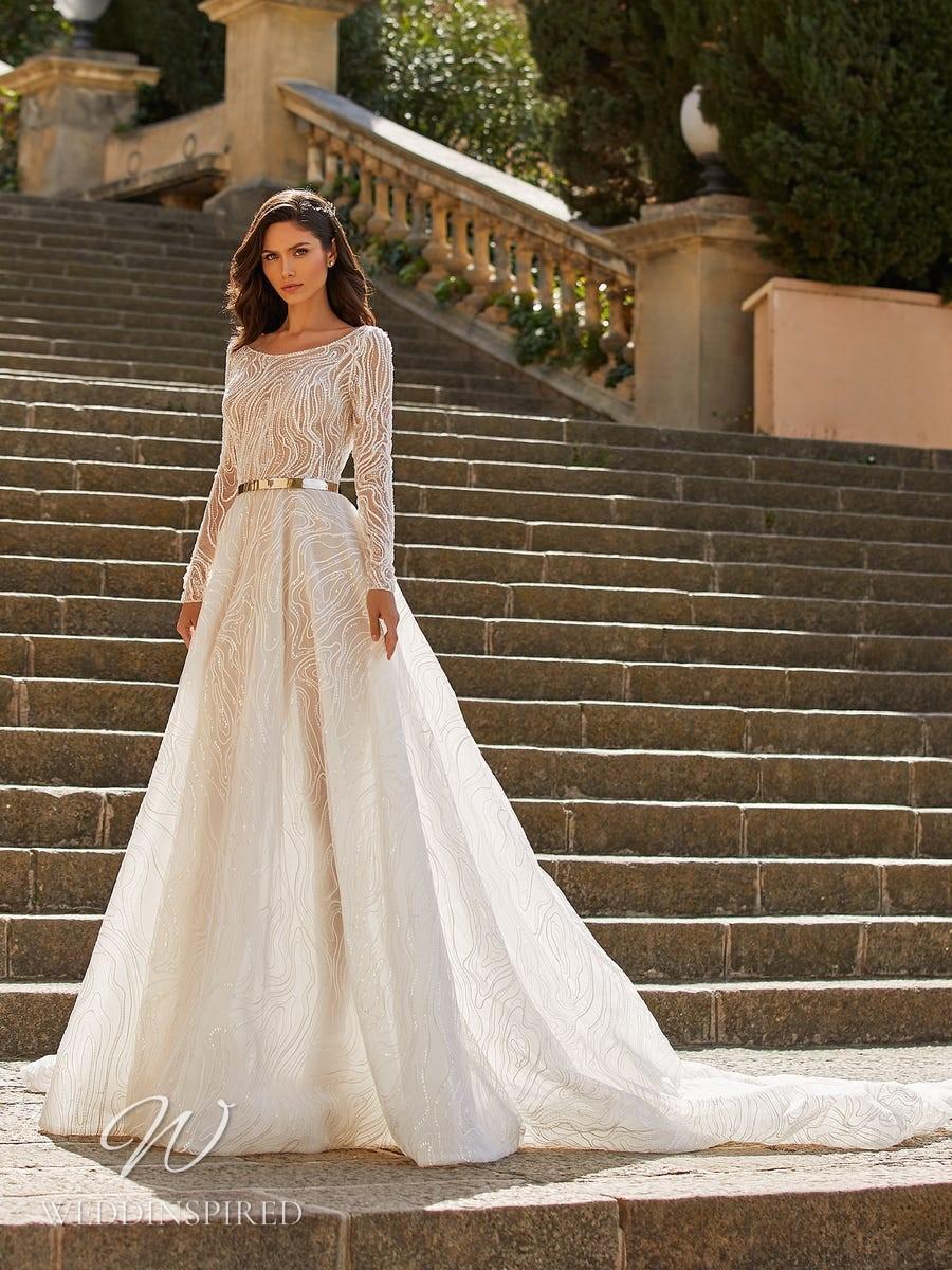 A Pronovias Privée 2021 ivory mesh A-line wedding dress with long sleeves and a high neckline