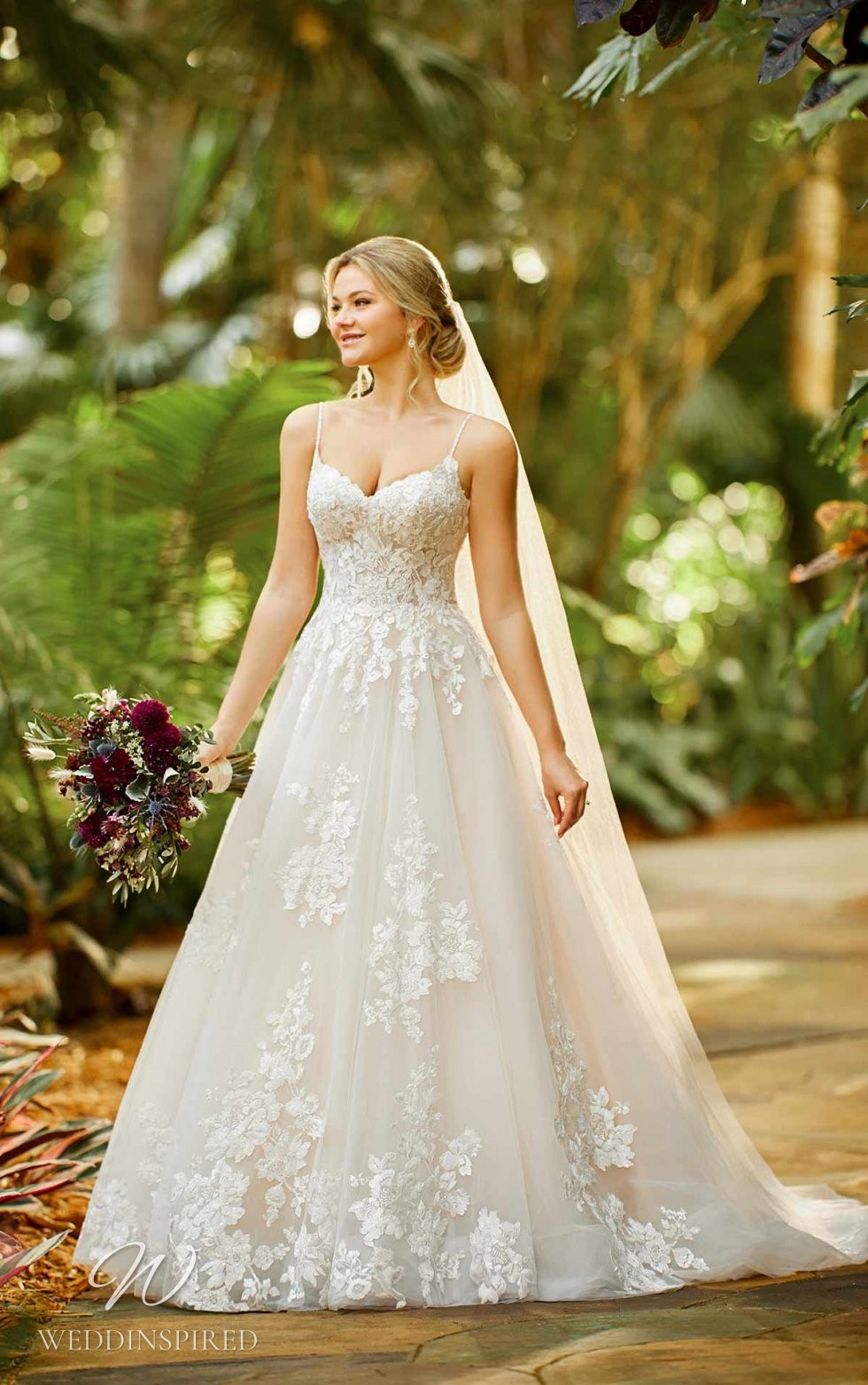 An Essense of Australia lace and tulle ball gown wedding dress