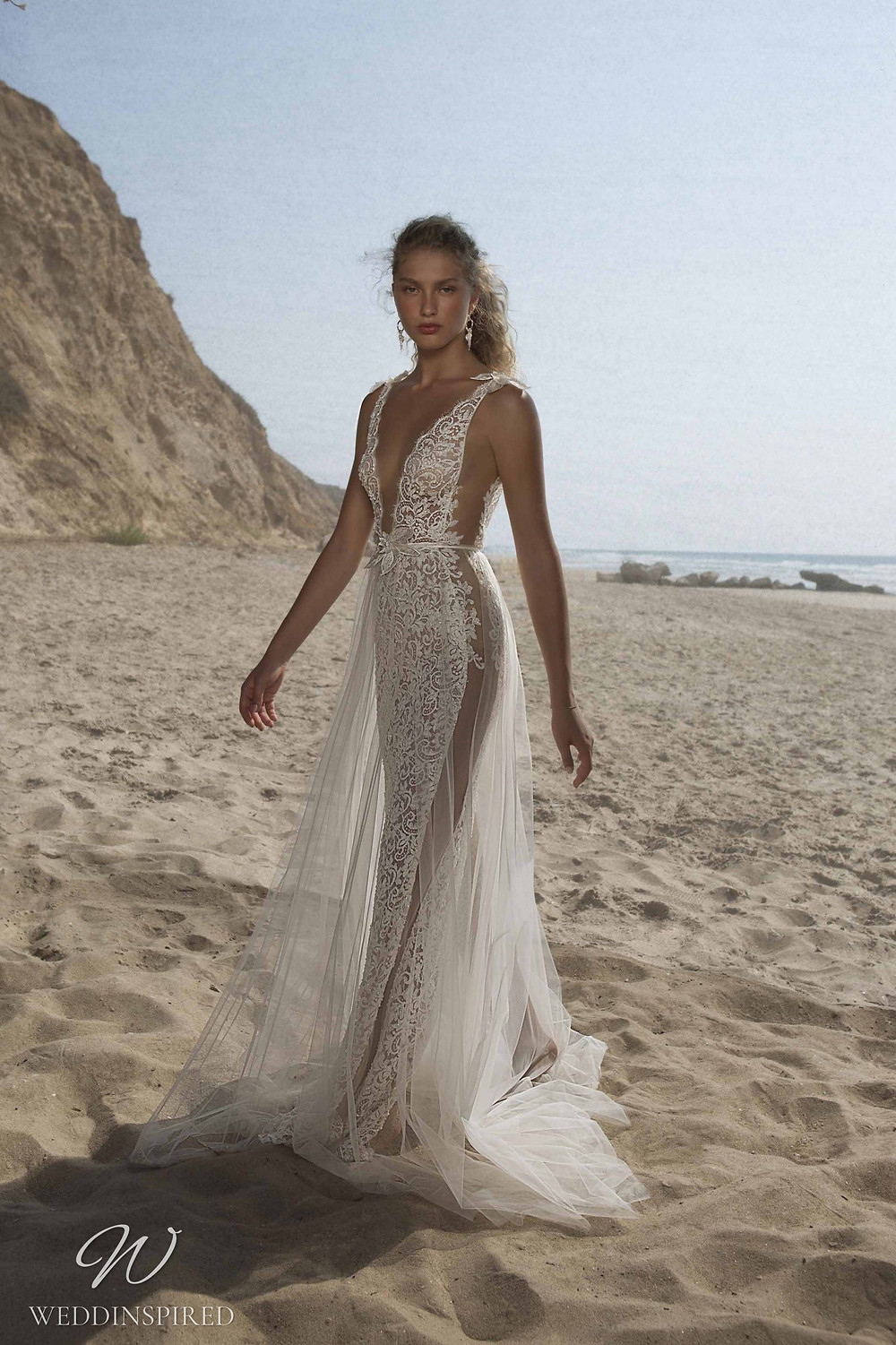A Muse by Berta ivory lace and tulle beach mermaid wedding dress with straps