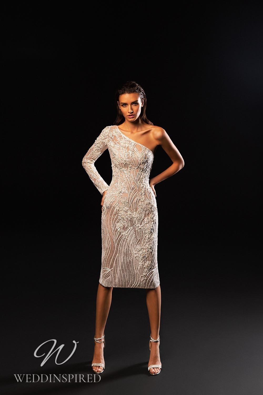 A WONÁ Concept 2021 one shoulder short wedding dress