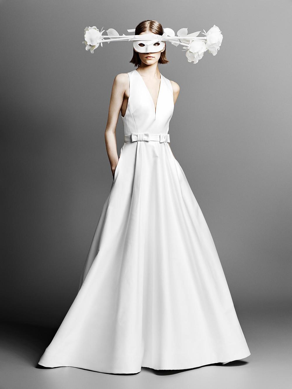 A Viktor & Rolf simple crepe A-line wedding dress with pockets