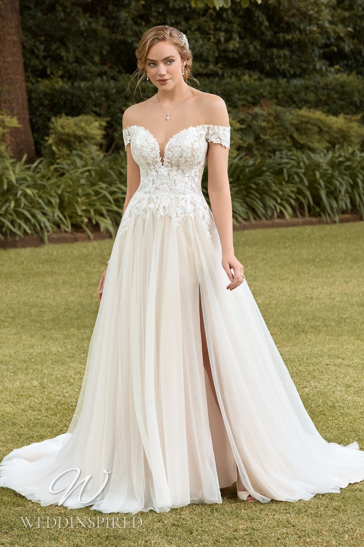 A Sophia Tolli 2021 lace and tulle off the shoulder A-line wedding dress