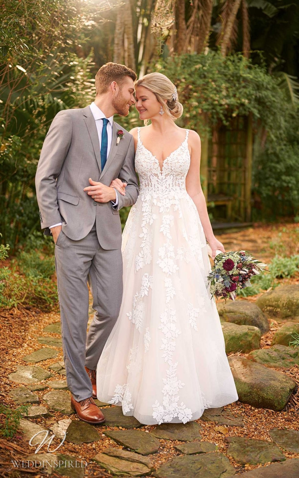 An Essense of Australia romantic blush lace and tulle A-line wedding dress