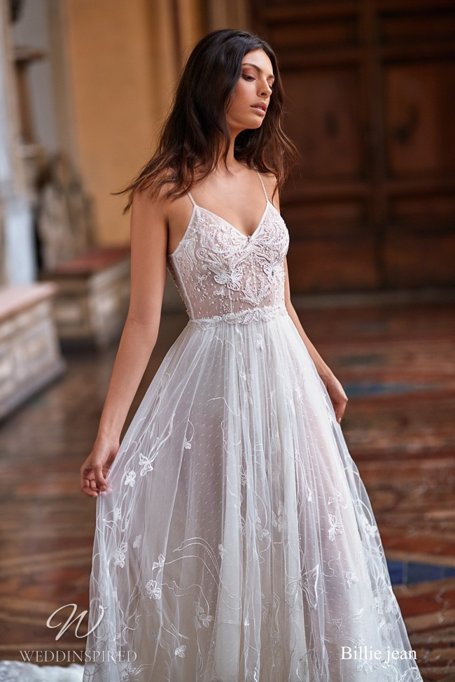 A Gali Karten flowy lace and tulle A-line wedding dress with thin spaghetti straps