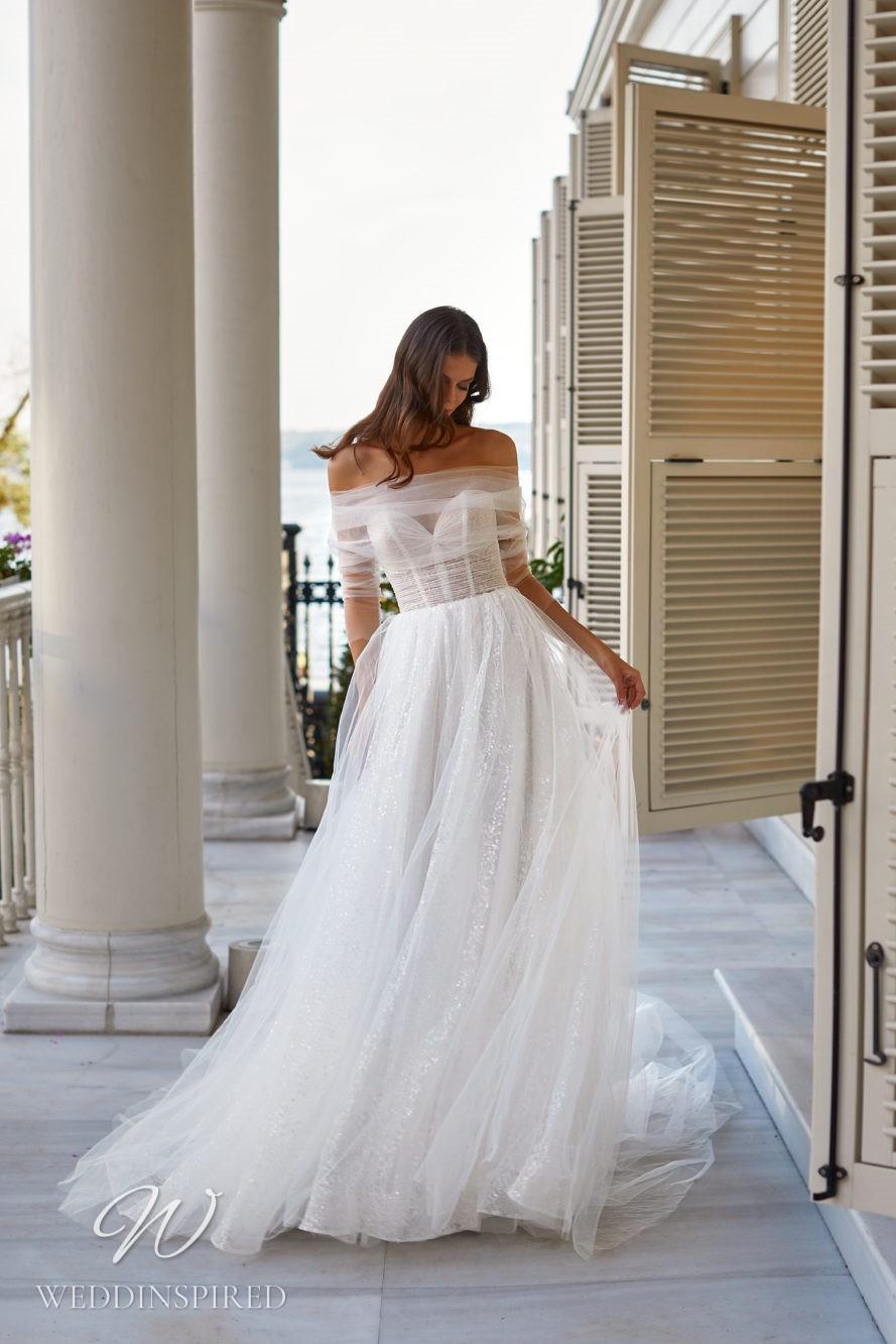 A Milla Nova 2021 tulle off the shoulder A-line wedding dress