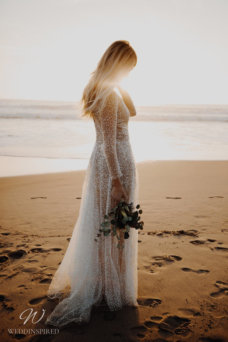 An Anna Campbell 2020 illusion A-line wedding dress with sparkles and crystals