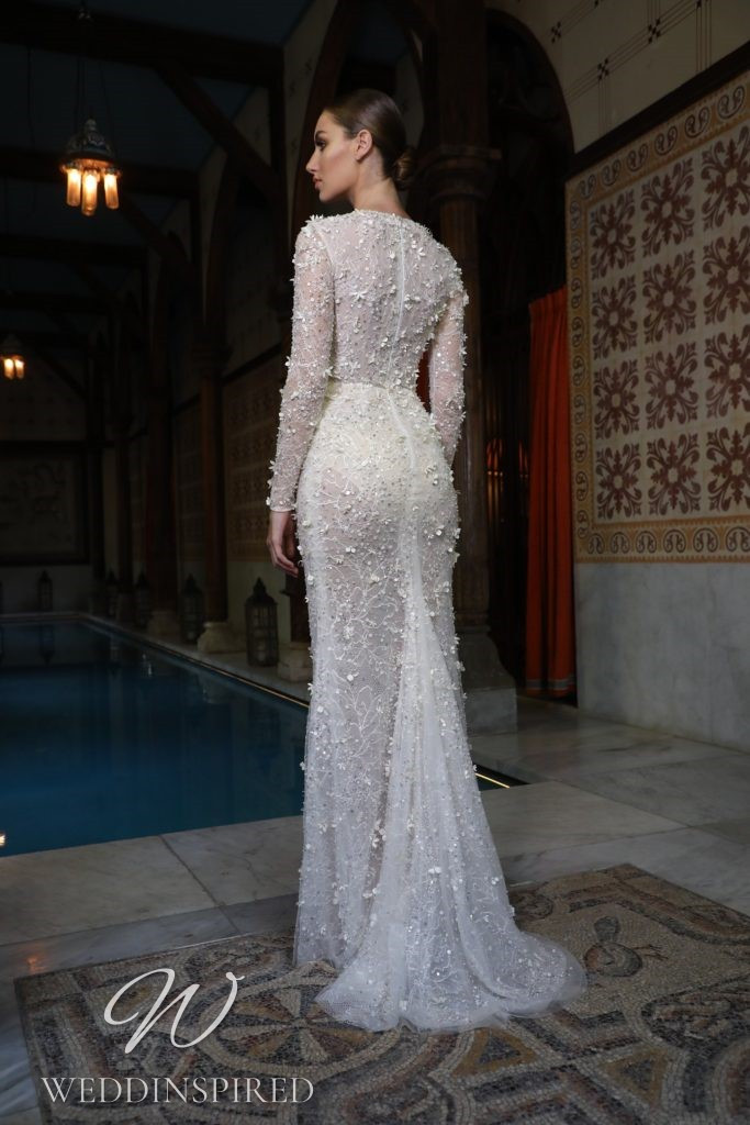 A Georges Hobeika 2021 lace mermaid wedding dress and long sleeves