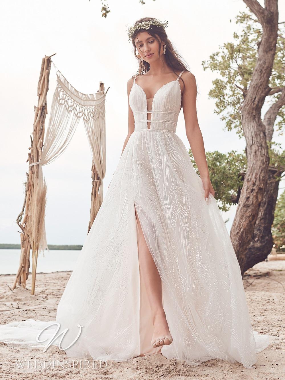 A Rebecca Ingram 2021 boho tulle A-line wedding dress