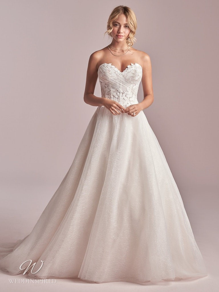 A Rebecca Ingram 2020 strapless sparkly lace and tulle A-line wedding dress with a sweetheart neckline