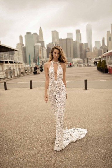 A Berta lace halterneck mermaid wedding dress
