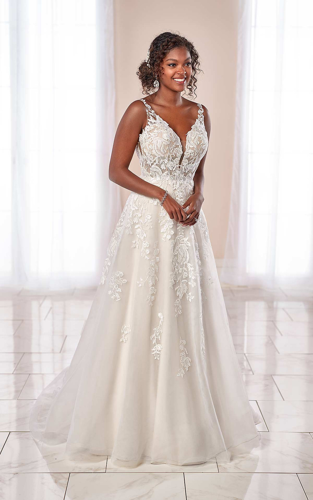 A Stella York 2020 lace and mesh A-line wedding dress with straps