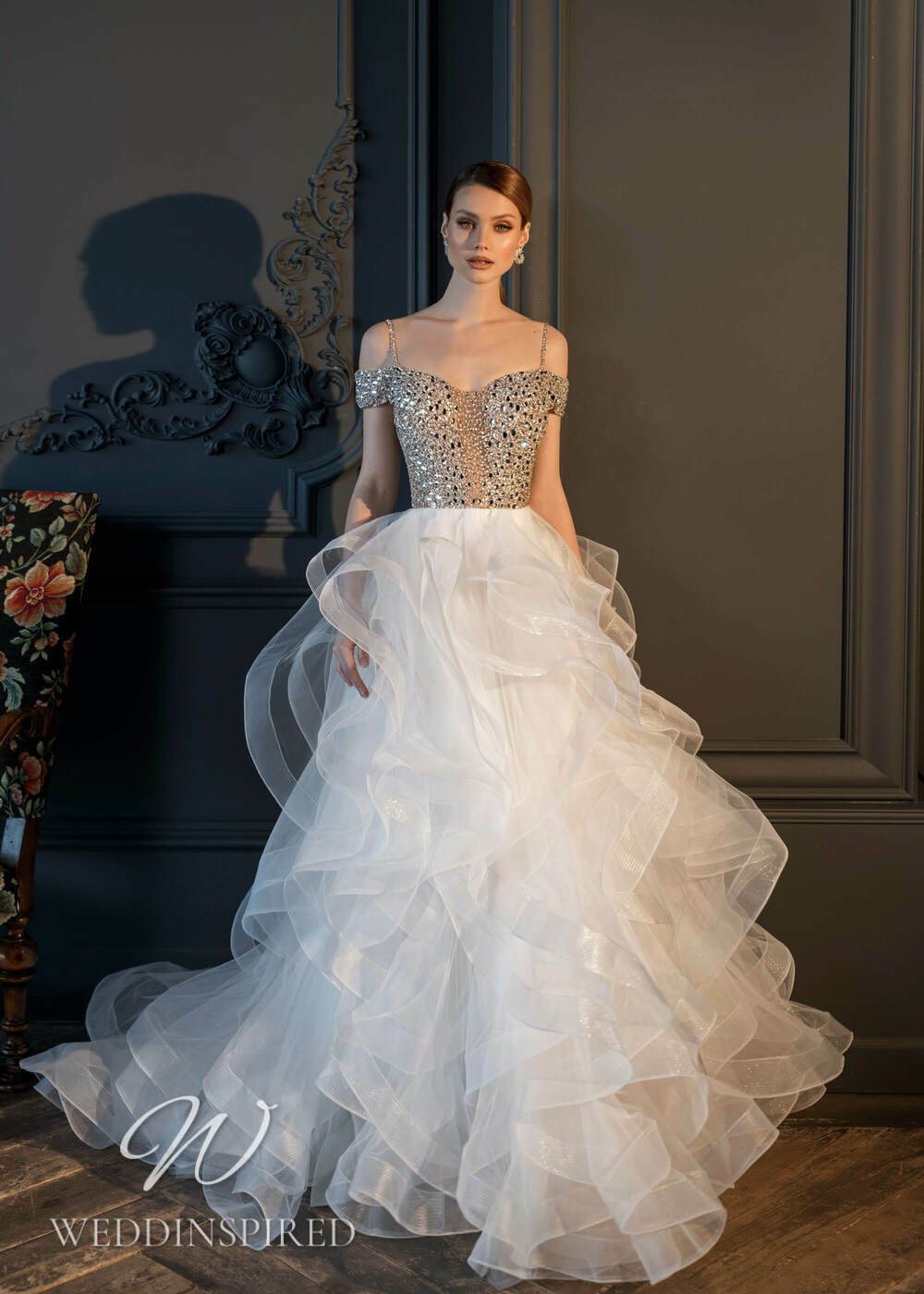 An Essential by Lussano 2021 sparkly tulle princess wedding dress with a ruffle skirt