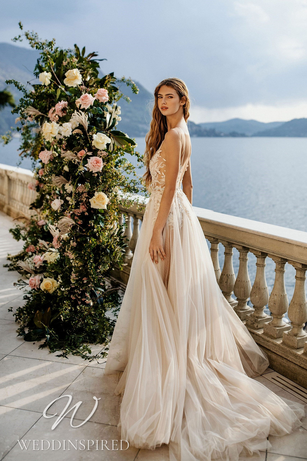 A Berta 2022 blush lace and tulle A-line wedding dress