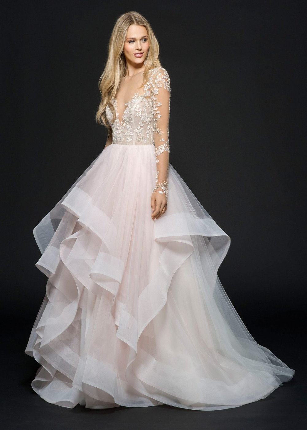 A Hayley Paige blush lace and tulle ball gown wedding dress