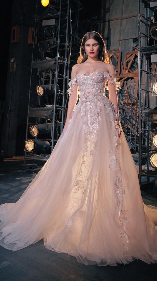 A Galia Lahav off the shoulder blush princess ball gown wedding dress
