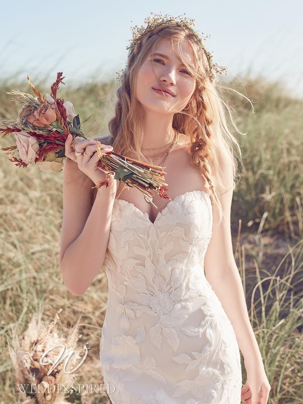 A Rebecca Ingram 2021 strapless ivory lace vintage boho mermaid wedding dress