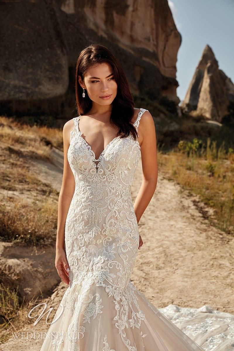 An Eddy K 2021 blush lace mermaid wedding dress with straps