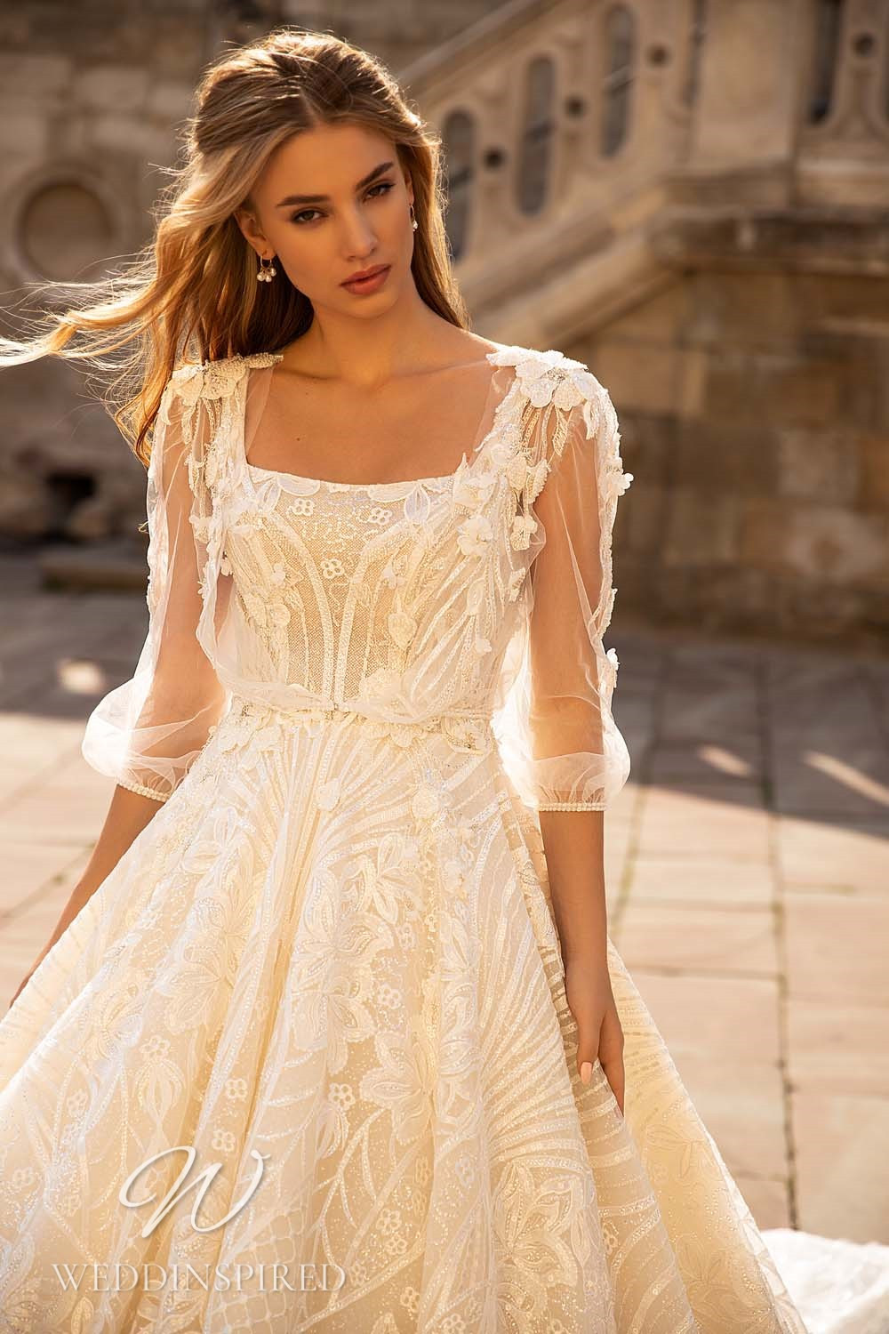 A WONÁ Concept 2021 ivory lace princess wedding dress with long sleeves