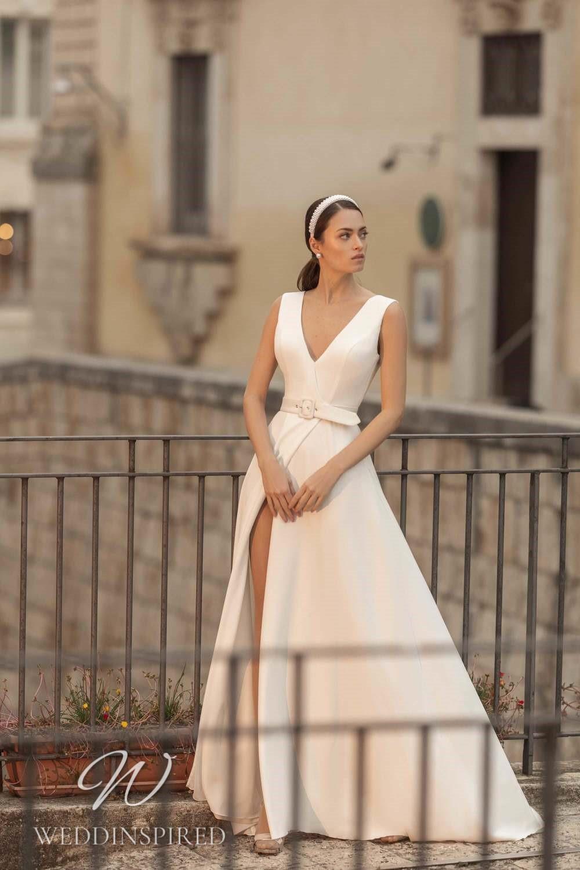 A Lussano 2021 satin A-line wedding dress with a v neck