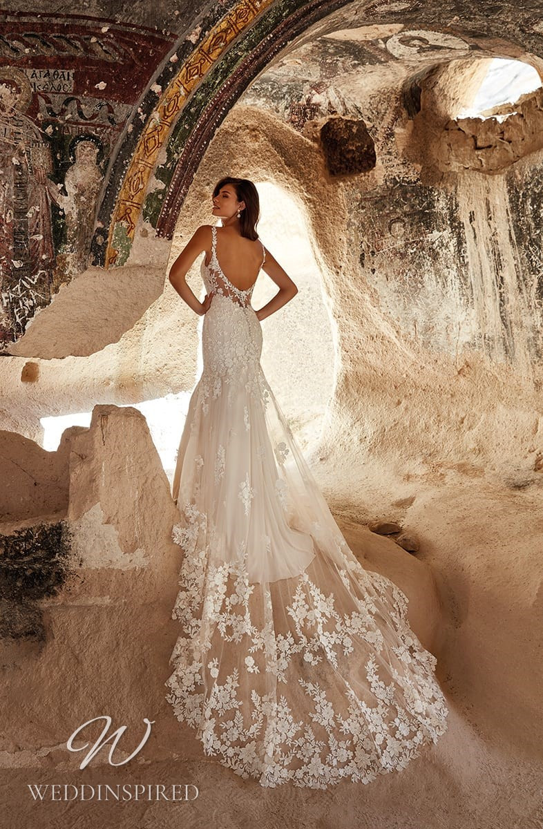 An Eddy K 2021 lace and tulle mermaid wedding dress with a low back