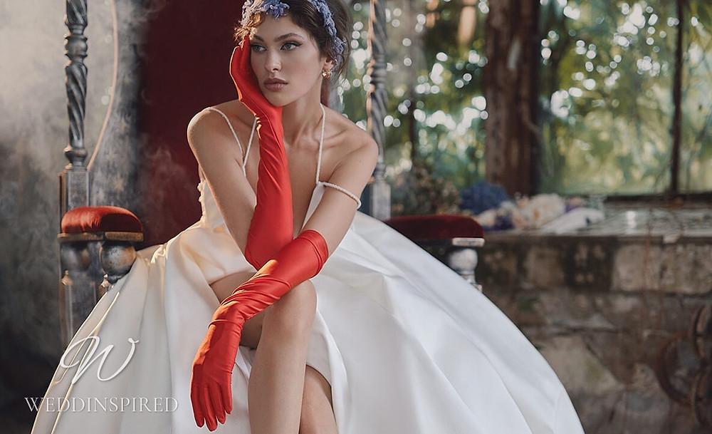 An Ange Etoiles 2021 silk A-line wedding dress with thin spaghetti straps
