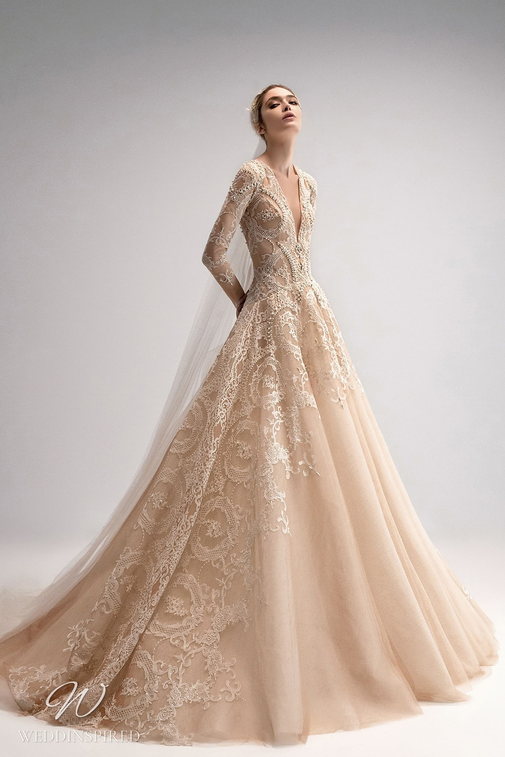 An Ersa Atelier 2021 blush chiffon ball gown wedding dress with lace, long sleeves and beading