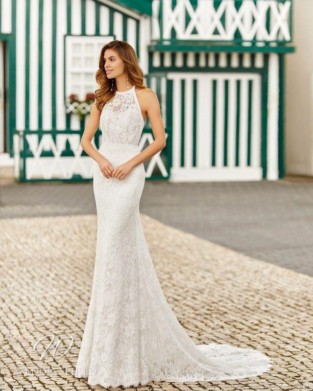 A Rosa Clara 2021 halterneck lace mermaid wedding dress