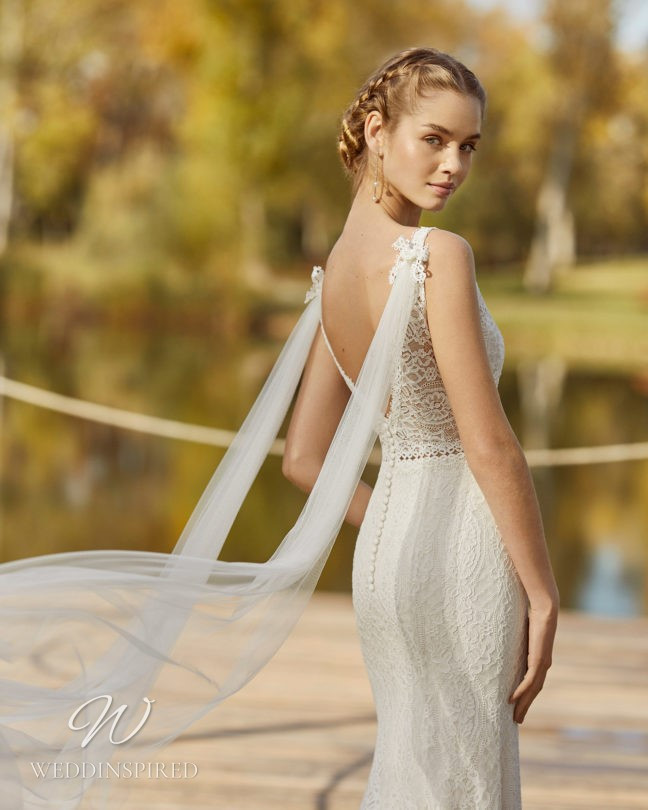 An Aire Barcelona 2021 lace mermaid wedding dress with a low back