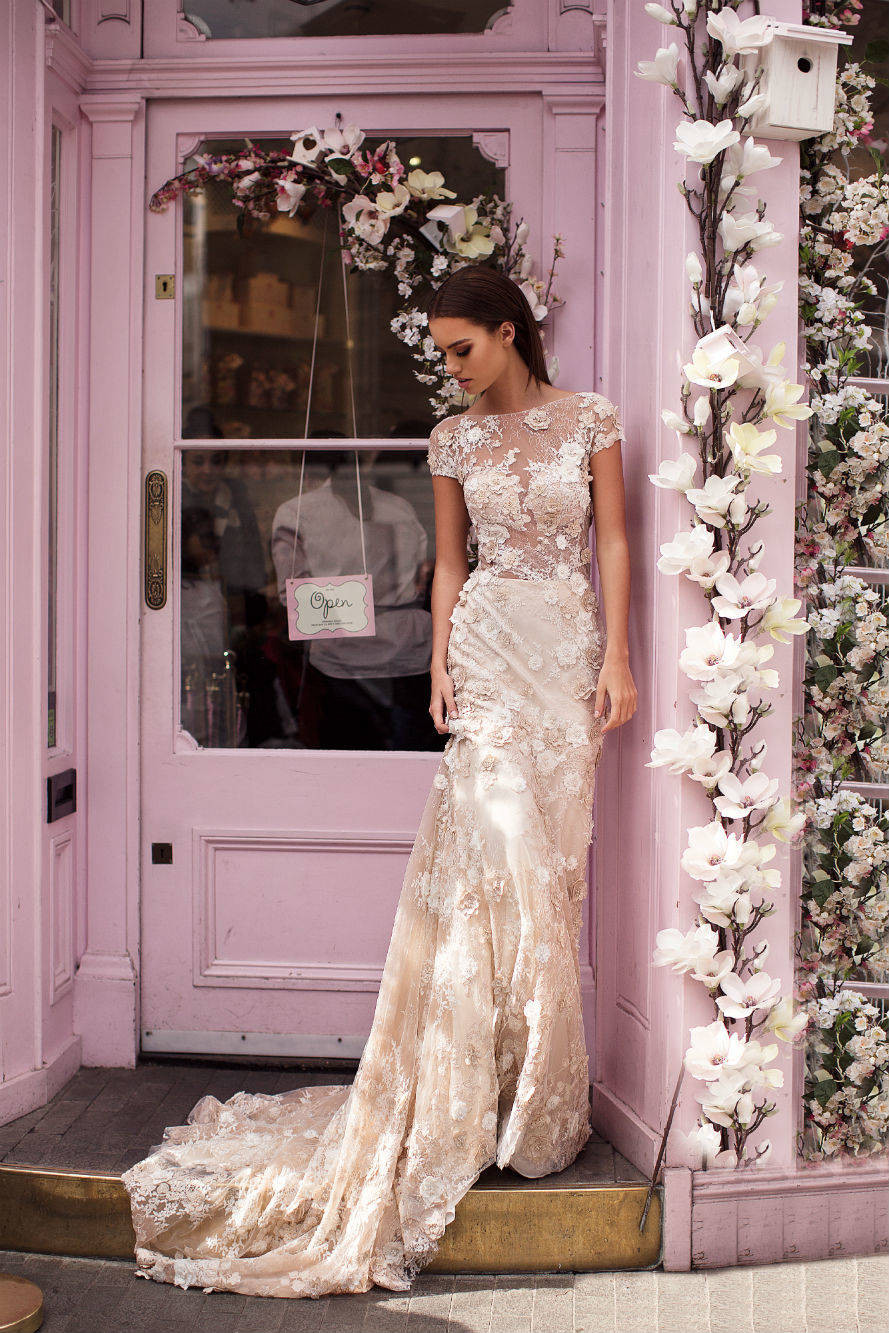 A Milla Nova blush A-line wedding dress, with long train, lace, illusion top and cap sleeves