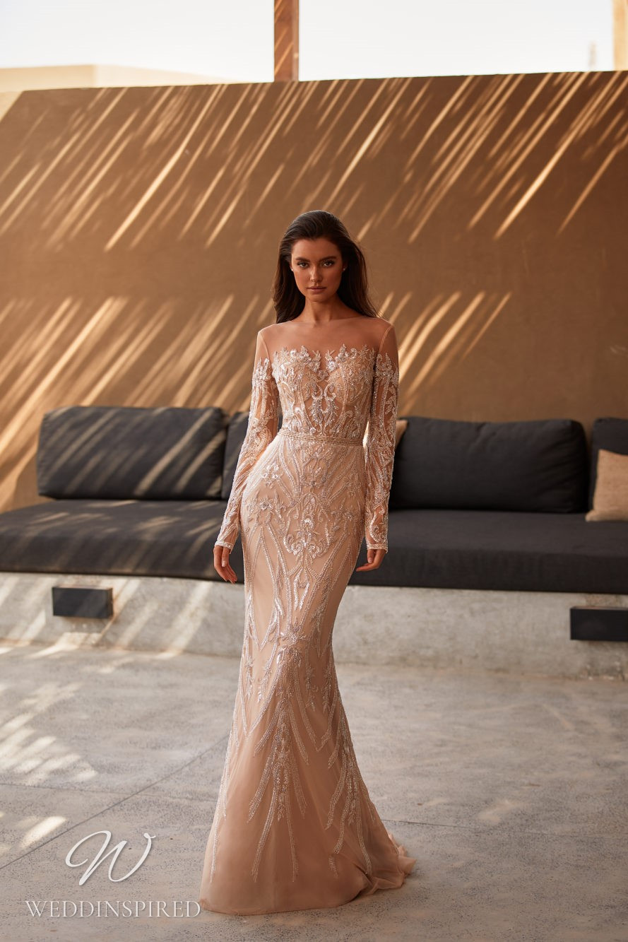 A Milla by Lorenzo Rossi 2021/2022 champagne lace mermaid wedding dress with long sleeves and an illusion neckline