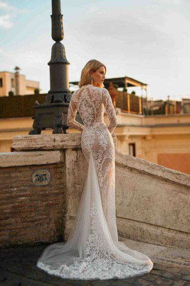 A Berta sexy lace and mesh mermaid fit and flare wedding dress