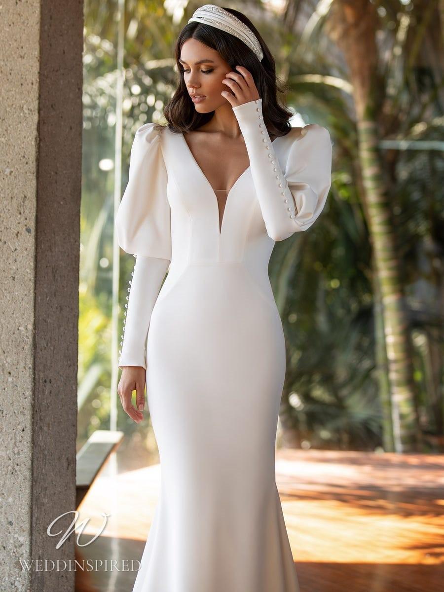 A Pronovias 2021 satin mermaid wedding dress with long balloon sleeves