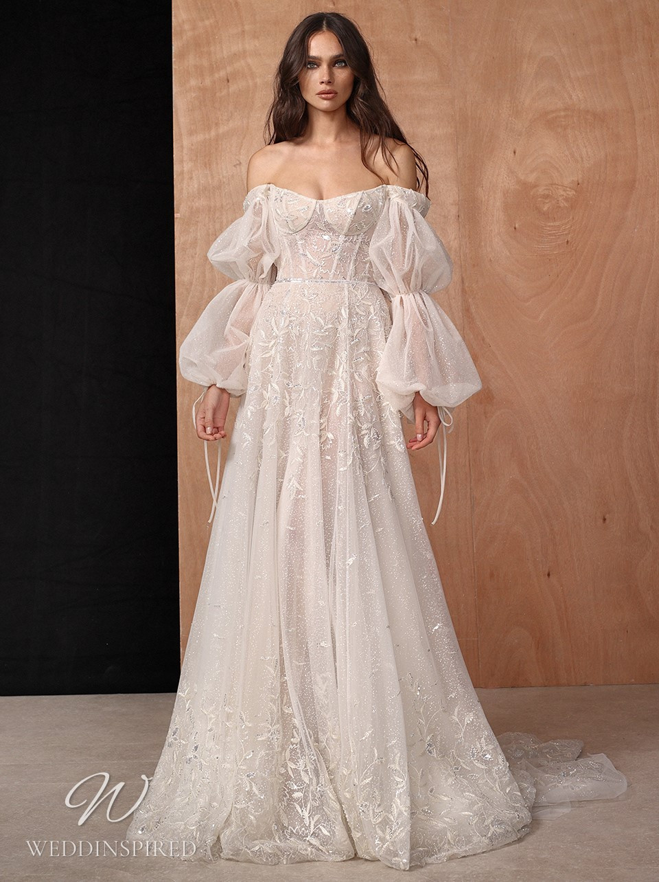 A Galia Lahav 2022 off the shoulder bohemian lace and tulle A-line wedding dress
