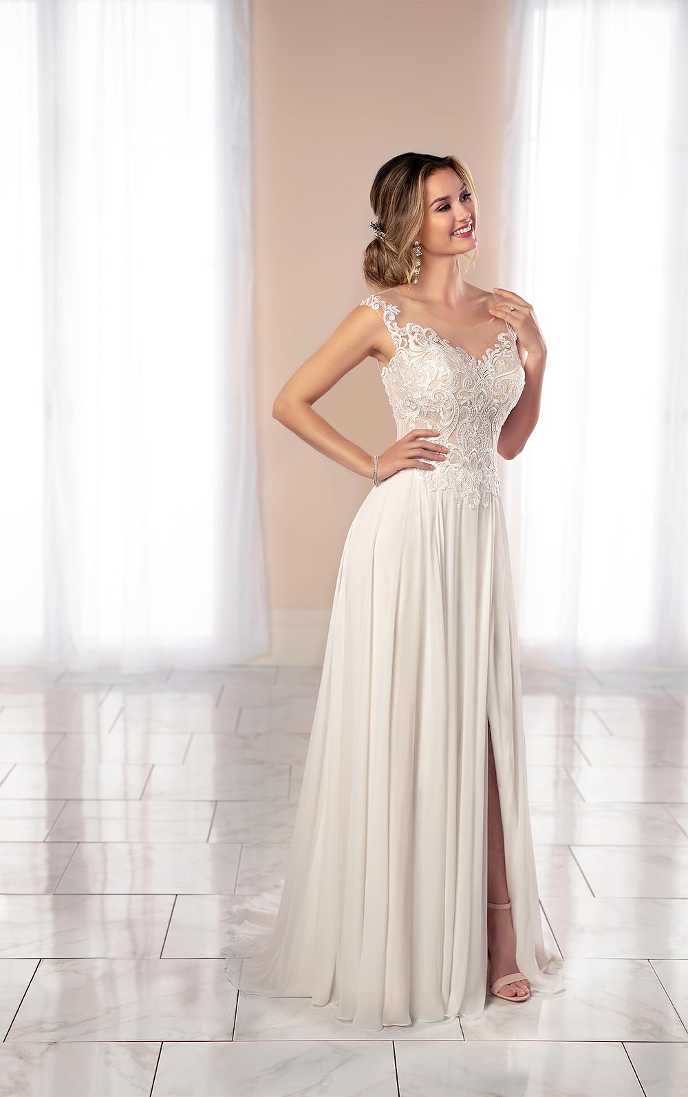 A Stella York 2020 lace and chiffon A-line wedding dress with straps