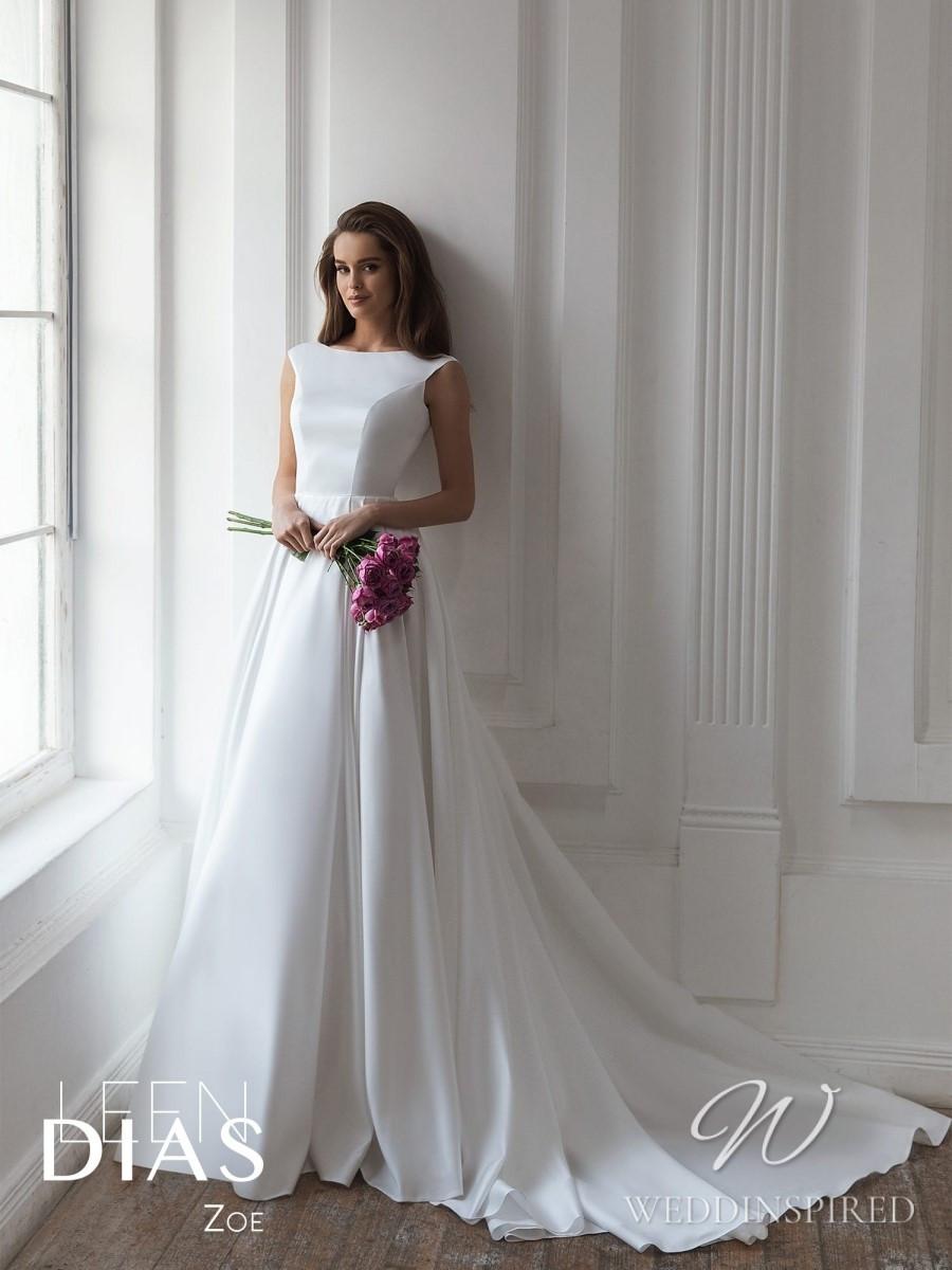 A Leen Dias 2021 simple modest satin A-line wedding dress