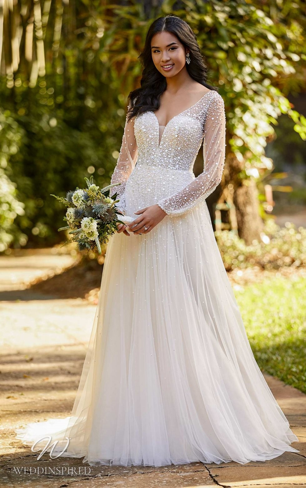 An Essense of Australia chiffon A-line wedding dress with long sleeves and pearls