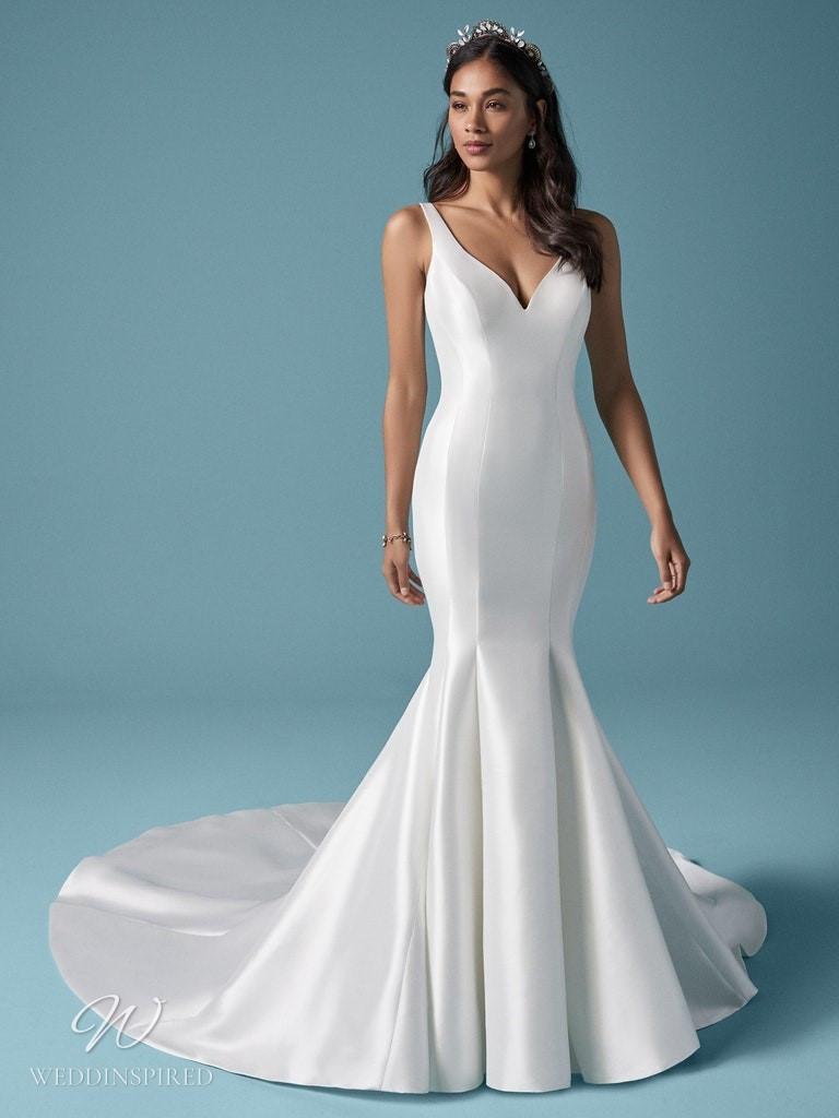A Maggie Sottero 2021 simple silk mermaid wedding dress