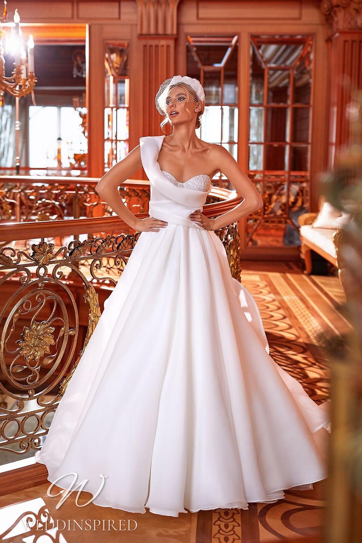 A Pollardi 2021 one shoulder chiffon A-line wedding dress