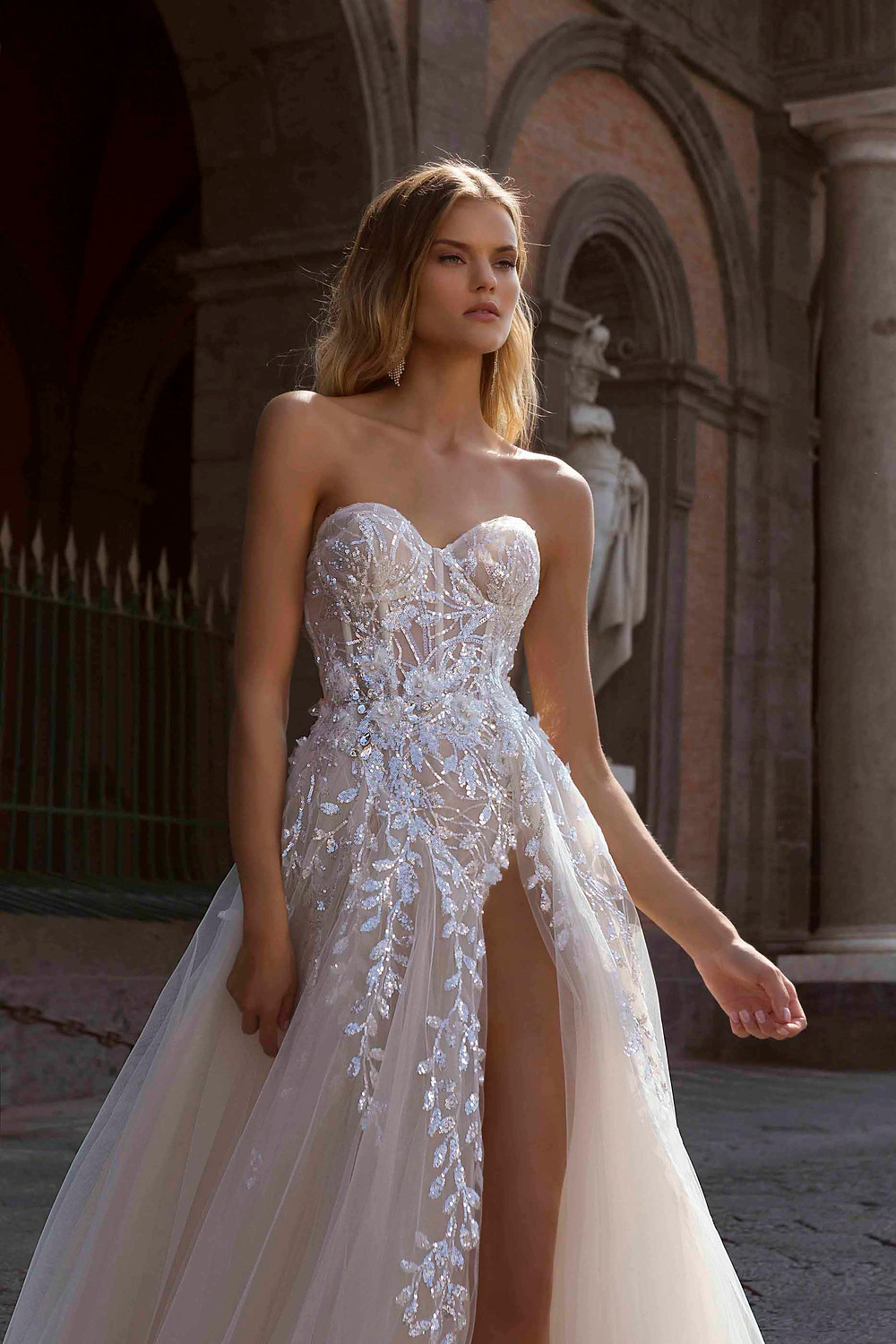 A Berta 2020 sparkle ball gown with tulle skirt, sweetheart neckline, corset top and crystals