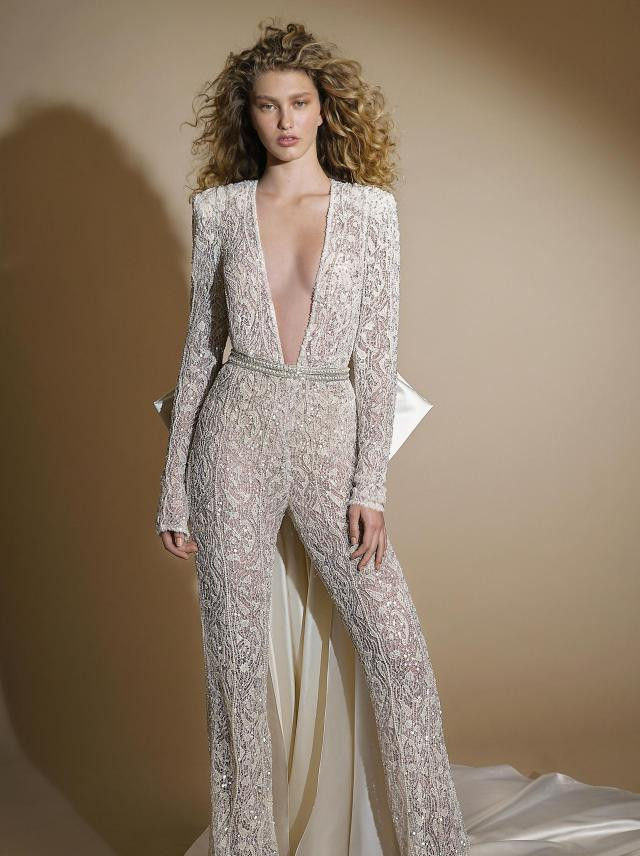 A Galia Lahav sparkly lace wedding jumpsuit or pantsuit with long sleeves