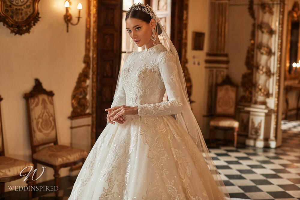 A Royal by Naviblue 2021 modest lace princess wedding dress with long sleeves
