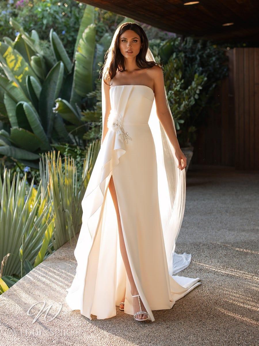 A Pronovias 2021 strapless blush A-line wedding dress