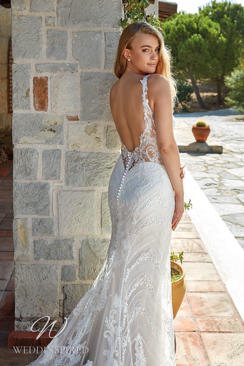 An Eddy K 2022 lace backless mermaid wedding dress