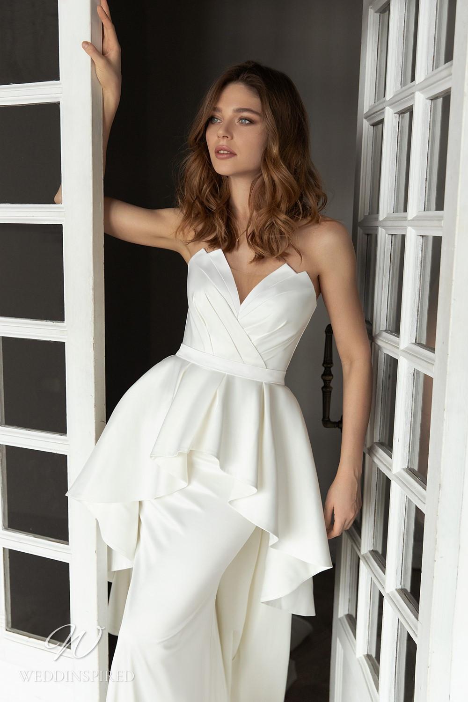An Eva Lendel 2021 simple strapless silk mermaid wedding dress with a peplum skirt