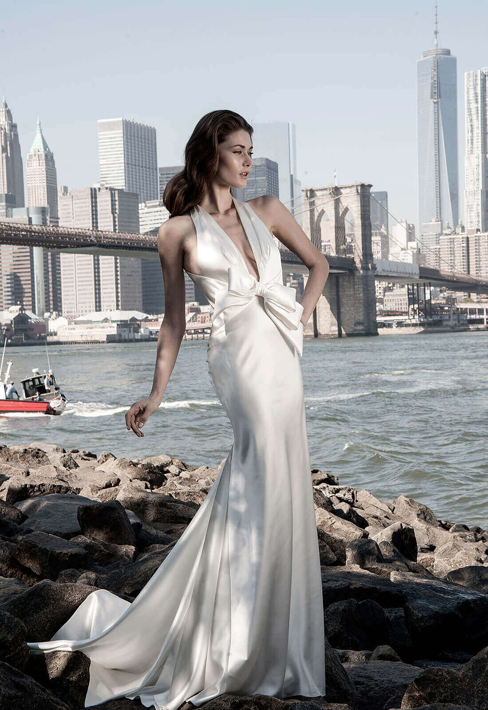 A Pnina Tornai halterneck silk satin mermaid wedding dress