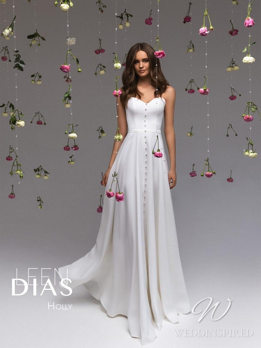 A Leen Dias 2021 simple strapless satin and chiffon sheath wedding dress