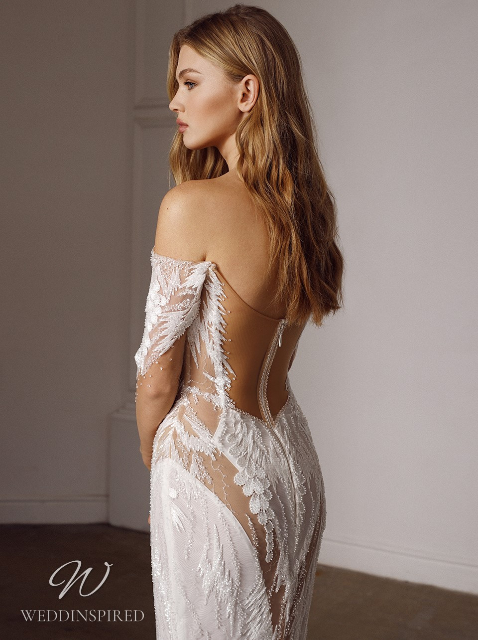 A Galia Lahav 2022 sexy off the shoulder lace mermaid wedding dress