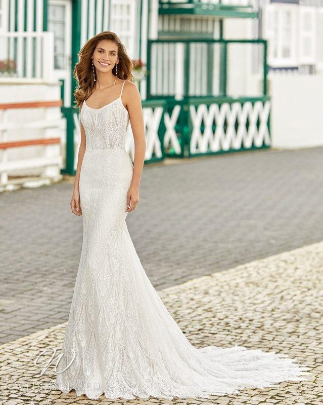 A Rosa Clara 2021 lace mermaid wedding dress with straps